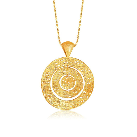 Italian Design 14K Yellow Gold Woven Concentric Circle Pendant 18 inches