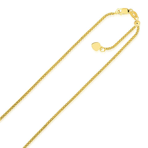 1.3mm 14K Yellow Gold Adjustable Popcorn Chain 22 inches