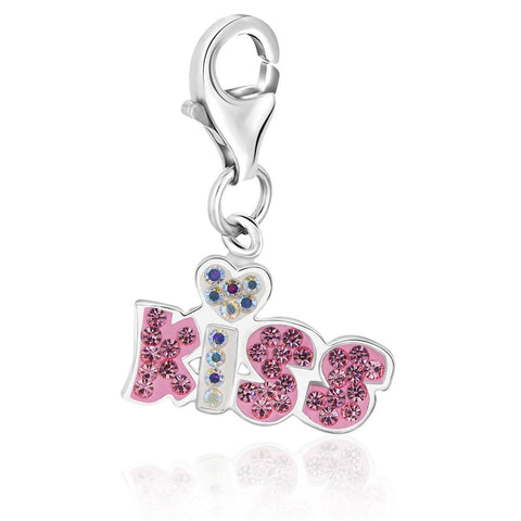 Sterling Silver KISS Charm with Multi Color Crystal Accents and Heart Detailing