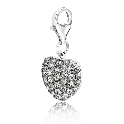 Sterling Silver Heart Style Charm with White Tone Crystal Accents