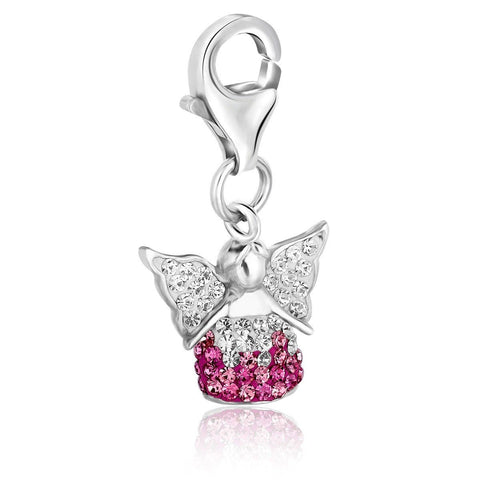 Sterling Silver Multi Tone Crystal Accented Angel Charm