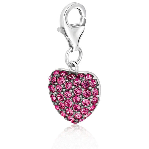 Sterling Silver Heart Charm Embellished with Pink Tone Crystal Accents