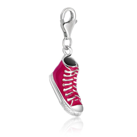 Sterling Silver Hi-Sneaker Charm with Pink Enamel Finishing