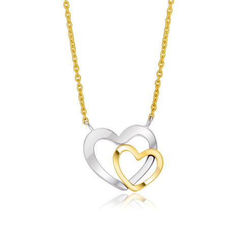 14K Two-Tone Gold Double Heart Necklace 18 inches