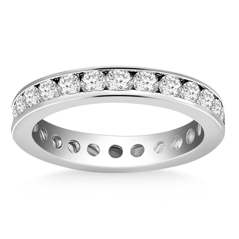 14K White Gold Eternity Ring with Channel Set Round Diamonds Size 8