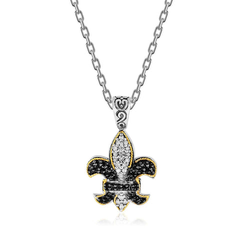 18K Yellow Gold & Sterling Silver Fleur De Lis Pendant with Two Tone Sapphires 18 inches