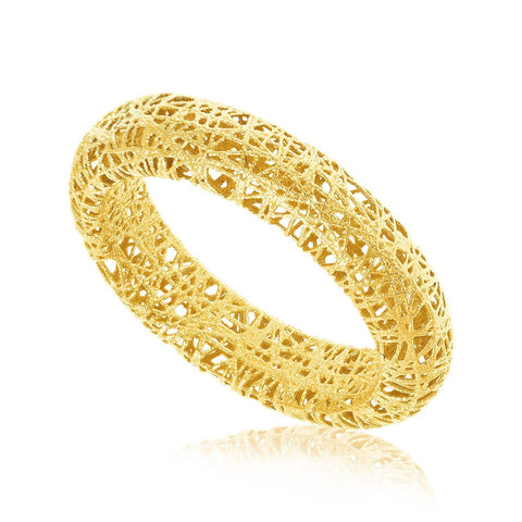 14K Yellow Gold Wire Mesh Tube Style Ring Size 8