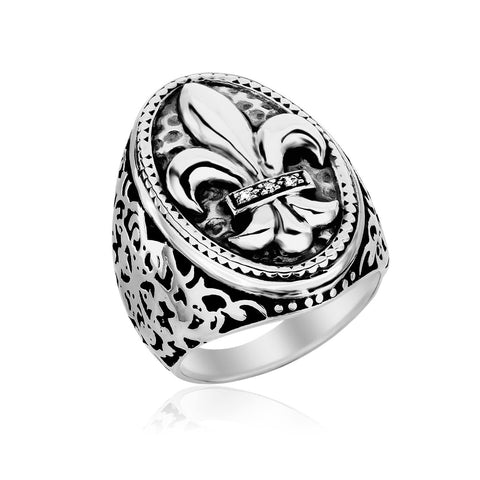 Sterling Silver Oval Fleur De Lis Ring with Diamonds Size 8