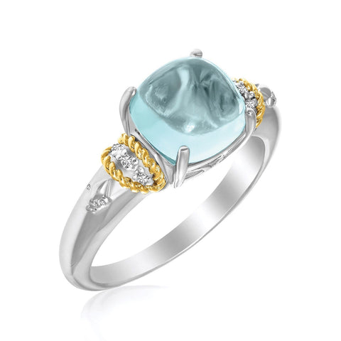 18K Yellow Gold & Sterling Silver Square Polished Blue Topaz and Diamond Ring Size 8