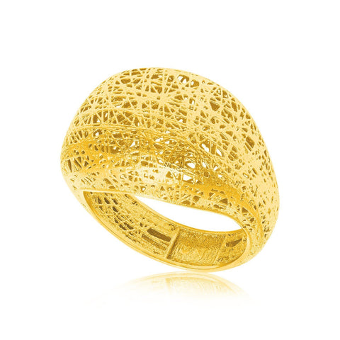 14K Yellow Gold Lace Like Dome Ring Size 7
