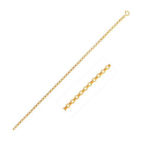 1.5mm 14K Yellow Gold Diamond Cut Rolo Chain 24 inches