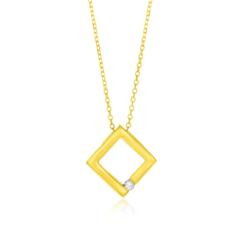 14K Yellow Gold Open Square Pendant with Diamond 18 inches