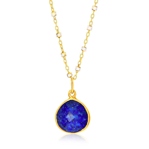 Sterling Silver Yellow Gold Plated Teardrop Faceted Lapis Pendant 18 inches