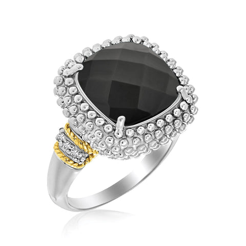 18K Yellow Gold & Sterling Silver Black Onyx and Diamond Popcorn Cushion Ring Size 8