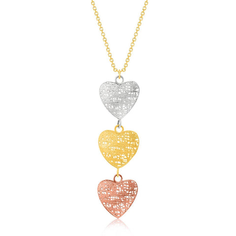 14K Tri-Color Gold Mesh Wire Heart Chain Dangling Pendant 18 inches