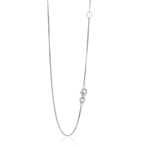 0.8mm 14K White Gold Adjustable Box Chain 20 inches