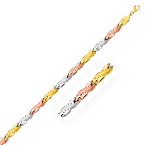 14K Tri-Color Gold Shiny and Textured X Link Bracelet 7.25 inches