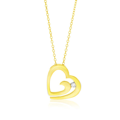 14K Yellow Gold Swirl Motif Diamond Accented Heart Pendant 18 inches