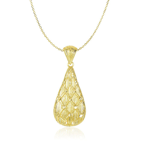 14K Yellow Gold Teardrop Pendant with Sanded Textured Diamond Pattern 18 inches