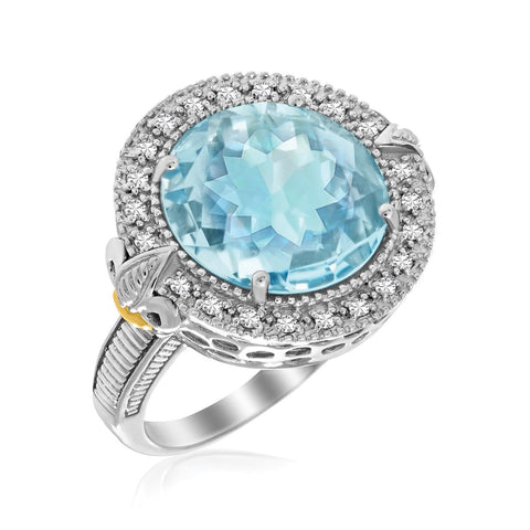 18K Yellow Gold & Sterling Silver Round Blue Topaz and Diamond Fleur De Lis Ring Size 9