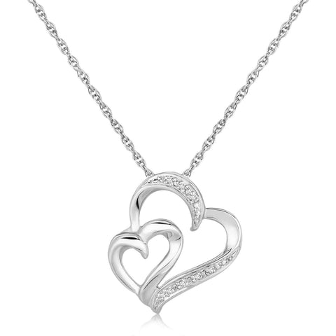 Sterling Silver Diamond Accented Dual Fancy Heart Pendant .02 ct t.w. 18 inches