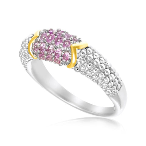 18K Yellow Gold & Sterling Silver Pink Sapphire Accented Popcorn Ring Size 8
