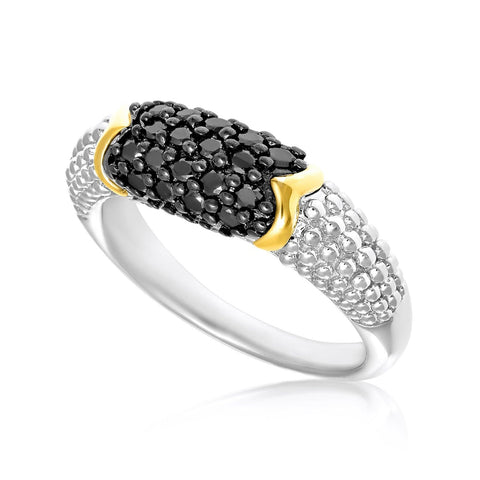 18K Yellow Gold & Sterling Silver Popcorn Ring with Black Diamonds Size 8