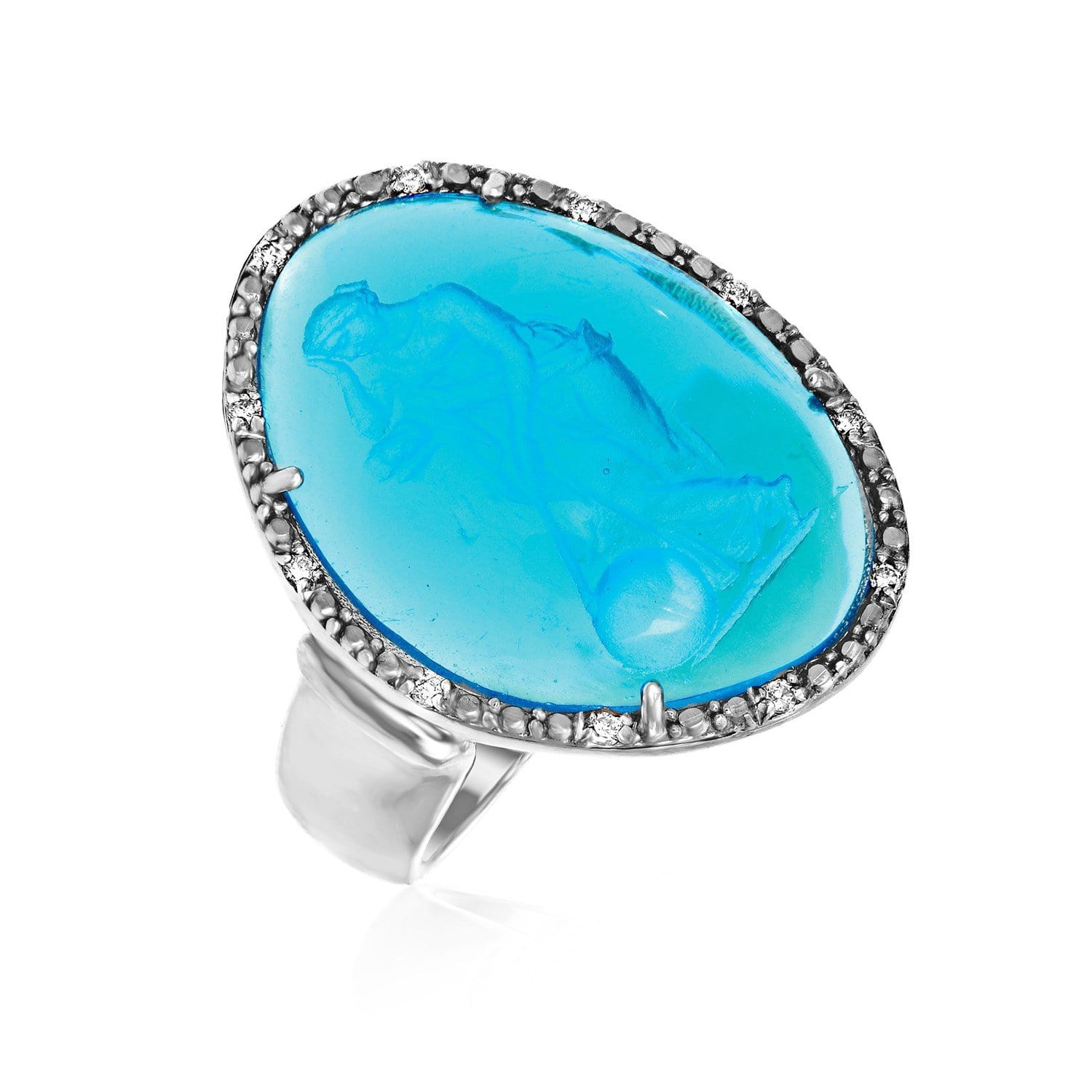 Sterling Silver Ring with Blue Venetian Glass Cameo Size 7