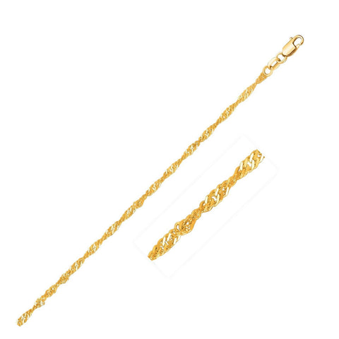 1.7mm 14K Yellow Gold Singapore Chain 20 inches