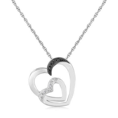 Sterling Silver Loop Dual Heart Diamond Accented Pendant .02 ct t.w. 18 inches