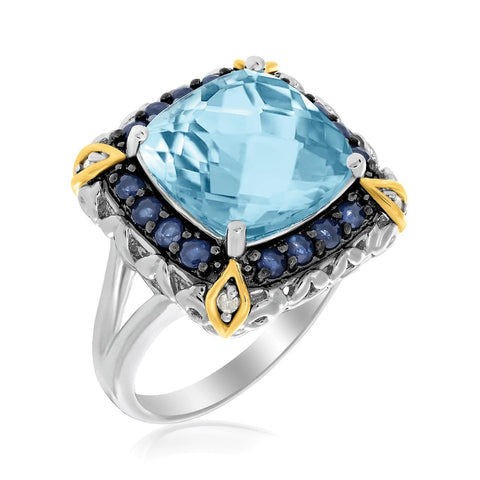 18K Yellow Gold & Sterling Silver Square Blue Topaz and Blue Sapphire Ring Size 9