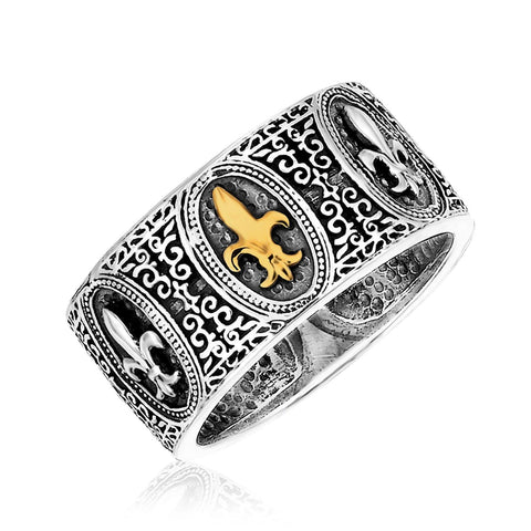 18K Yellow Gold & Sterling Silver Fleur De Lis Baroque Ring Size 9