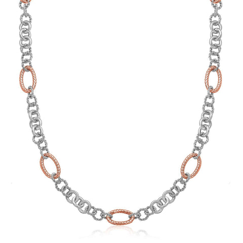 18K Rose Gold & Sterling Silver Oval Rope Motif Link Necklace 18 inches