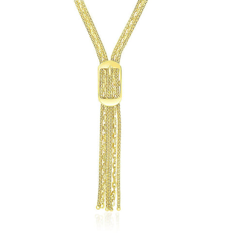 14K Yellow Gold Lariat Buckle Style Multi-Strand Chain Necklace 17 inches
