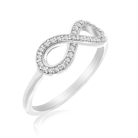14K White Gold Infinity Ring with Diamond Accents .17ct tw Size 7
