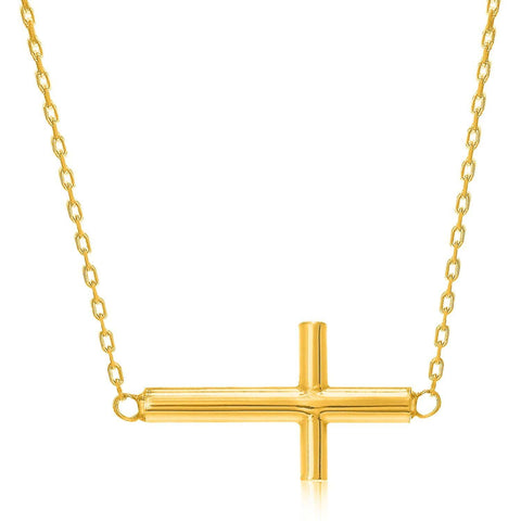 14K Yellow Gold Necklace with a Polished Cross Design 18 inches
