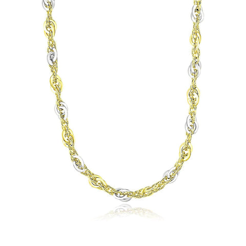 14K Two-Tone Gold Entwined Multi-Textured Chain Necklace 18 inches
