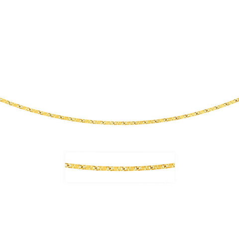 0.8mm 14K Yellow Gold Mariner Diamond Cut Chain 20 inches