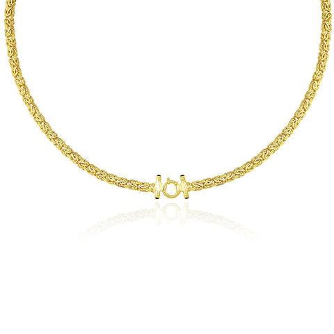 14K Yellow Gold Necklace with a Byzantine Style 18 inches