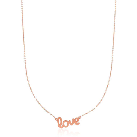 14K Rose Gold Script LOVE Necklace 18 inches
