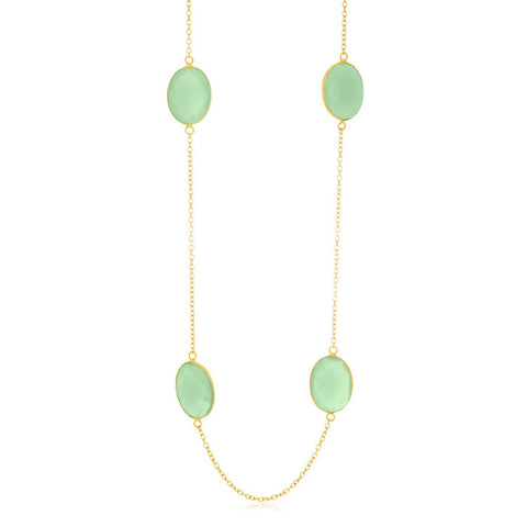 Sterling Silver Yellow Gold Plated Oval Aqua Chalcedony Station Chain Necklace 38 inches