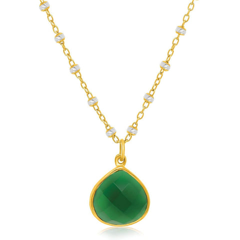Sterling Silver Yellow Gold Plated Teardrop Pendant with a Green Onyx Accent 18 inches