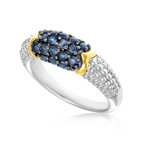 18K Yellow Gold & Sterling Silver Popcorn Motif Ring with Blue Sapphires Size 7