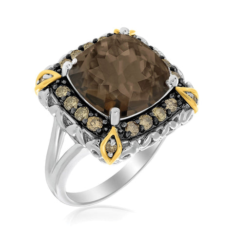 18K Yellow Gold & Sterling Silver Fancy Brown Diamond and Smokey Quartz Ring Size 9