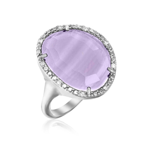 Sterling Silver Freeform Ring with Amethyst and Diamonds Size 8