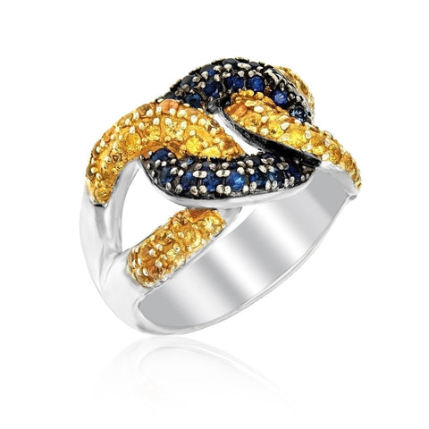 Sterling Silver Knot Style Ring with Blue and Yellow Sapphires Size 7