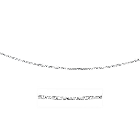 0.8mm 14K White Gold Rectangular Mariner Diamond Cut Chain 20 inches
