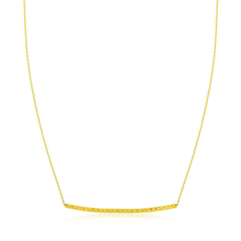 14K Yellow Gold Thin Textured Bar Necklace 17 inches