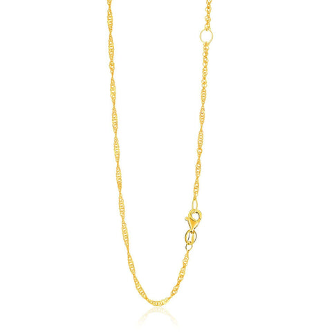 1.7mm 14K Yellow Gold Adjustable Singapore Chain 18 inches