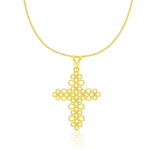14K Yellow Gold Floral Lacy Crucifix Style Pendant 18 inches